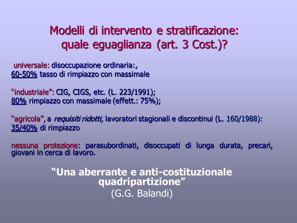 Modelli di intervento e stratificazione: quale eguaglianza (art. 3 Cost.)? universale: disoccupazione ordinaria:, universale: disoccupazione ordinaria
