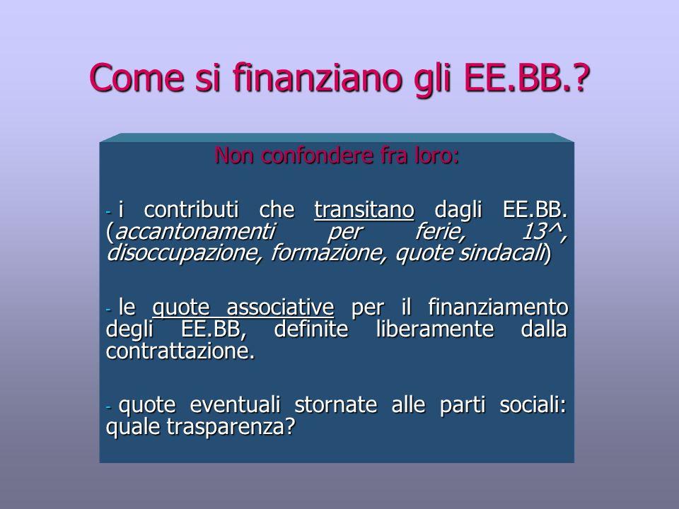 Come si finanziano gli EE.BB.? Non confondere fra loro: - i contributi che transitano dagli EE.BB. (accantonamenti per ferie, 13^, disoccupazione, for