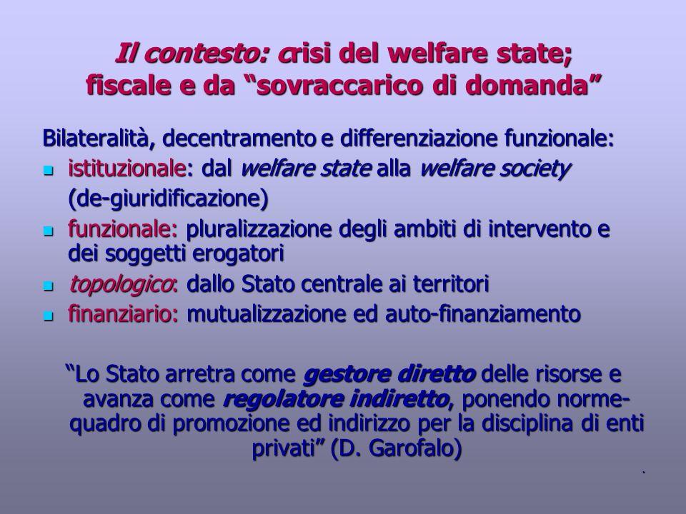 Il contesto: crisi del welfare state; fiscale e da sovraccarico di domanda Bilateralità, decentramento e differenziazione funzionale: istituzionale: d