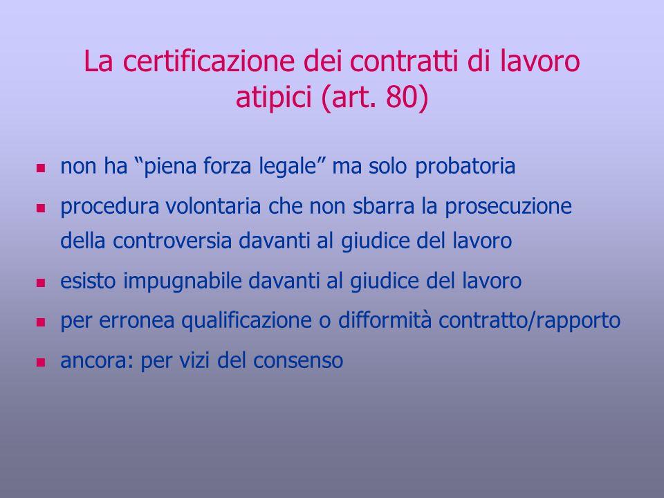 La certificazione dei contratti di lavoro atipici (art. 80) non ha piena forza legale ma solo probatoria procedura volontaria che non sbarra la prosec