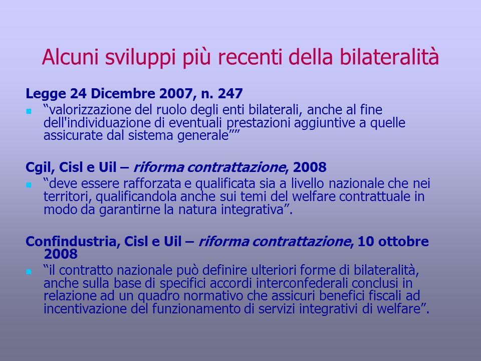Alcuni sviluppi più recenti della bilateralità Legge 24 Dicembre 2007, n. 247 valorizzazione del ruolo degli enti bilaterali, anche al fine dell'indiv