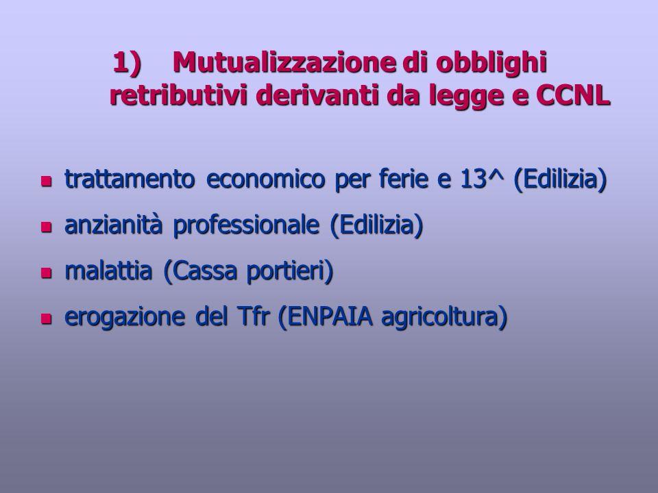 1)Mutualizzazione di obblighi retributivi derivanti da legge e CCNL trattamento economico per ferie e 13^ (Edilizia) trattamento economico per ferie e