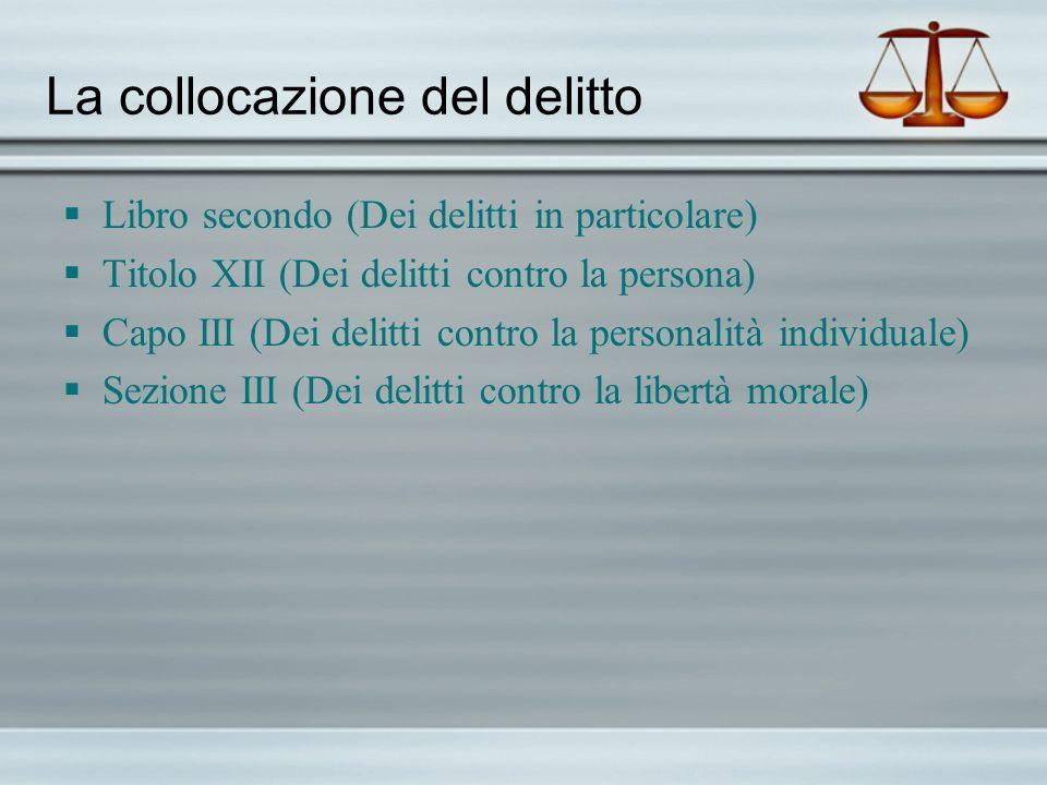 La collocazione del delitto Libro secondo (Dei delitti in particolare) Titolo XII (Dei delitti contro la persona) Capo III (Dei delitti contro la pers
