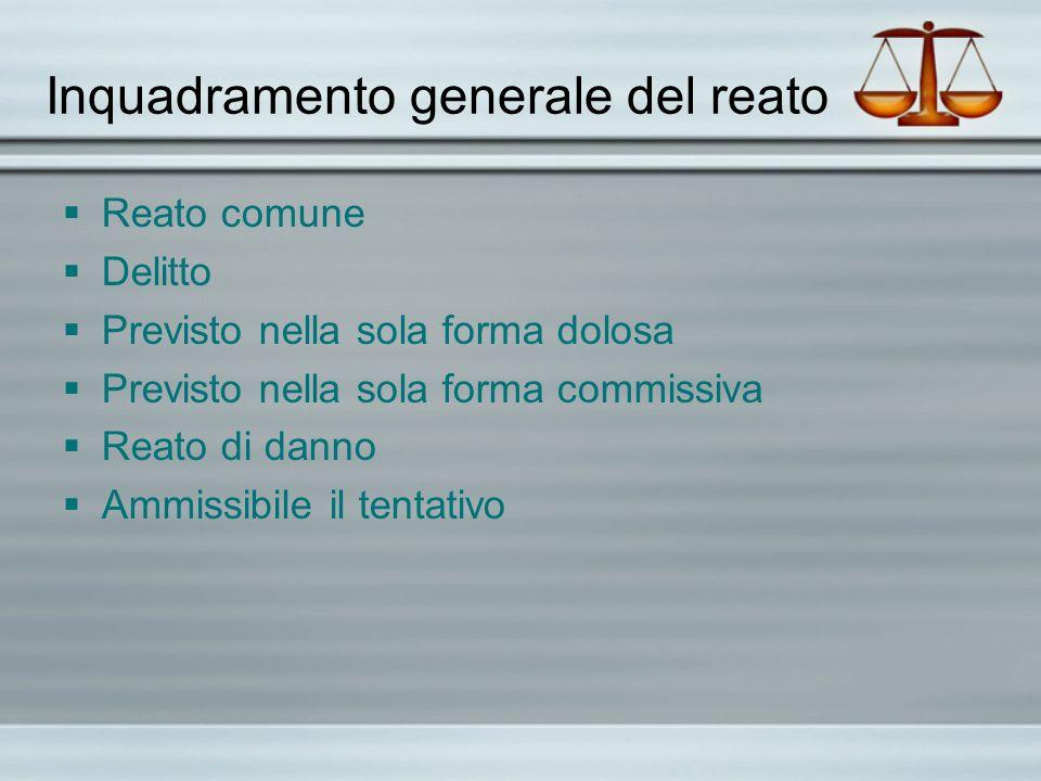 Inquadramento generale del reato Reato comune Delitto Previsto nella sola forma dolosa Previsto nella sola forma commissiva Reato di danno Ammissibile