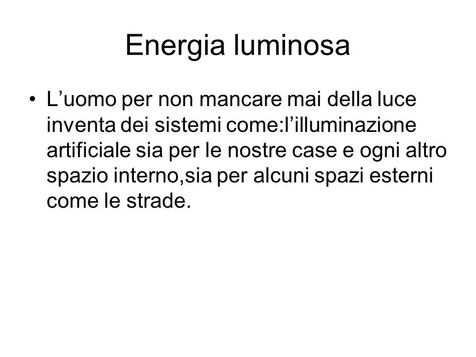 Energia luminosa Luomo per non mancare mai della luce inventa dei sistemi come:lilluminazione artificiale sia per le nostre case e ogni altro spazio i