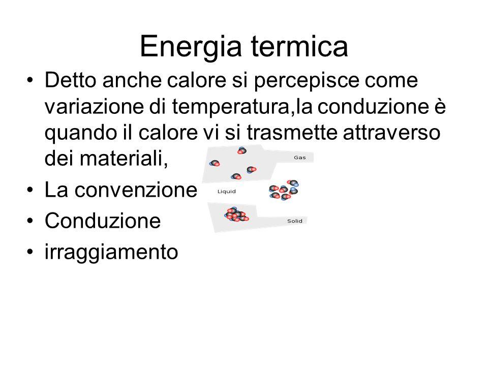 Energia termica Detto anche calore si percepisce come variazione di temperatura,la conduzione è quando il calore vi si trasmette attraverso dei materi