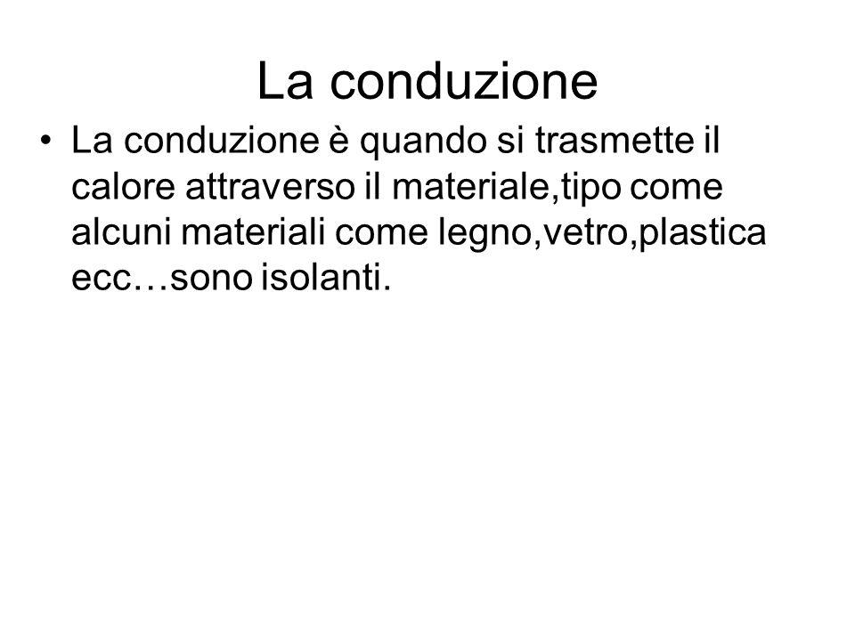 La conduzione La conduzione è quando si trasmette il calore attraverso il materiale,tipo come alcuni materiali come legno,vetro,plastica ecc…sono isol