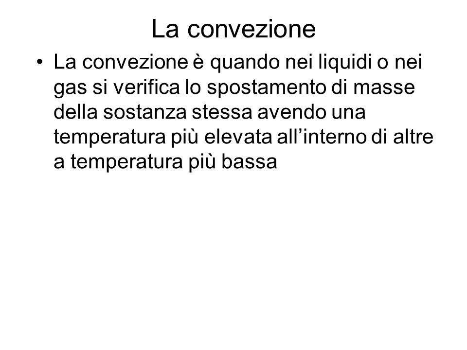 La convezione La convezione è quando nei liquidi o nei gas si verifica lo spostamento di masse della sostanza stessa avendo una temperatura più elevat