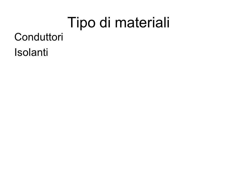 Tipo di materiali Conduttori Isolanti