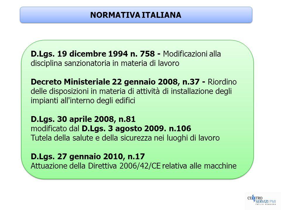 NORMATIVA ITALIANA D.Lgs. 19 dicembre 1994 n. 758 - Modificazioni alla disciplina sanzionatoria in materia di lavoro Decreto Ministeriale 22 gennaio 2