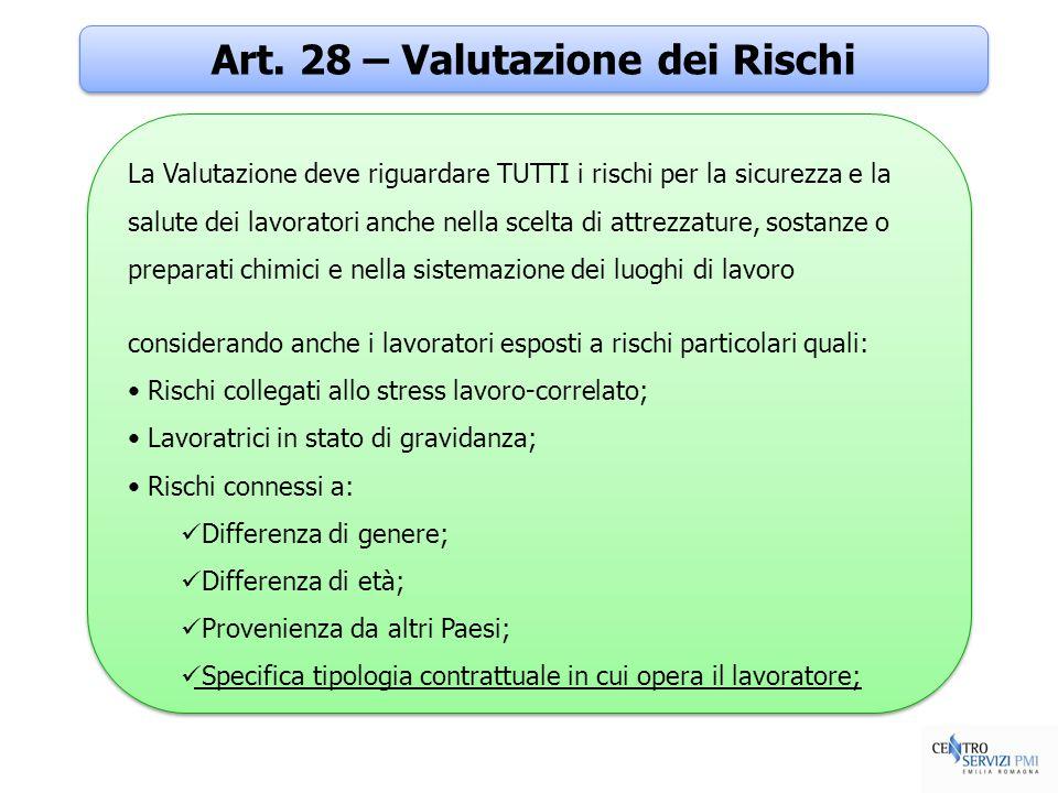 Art. 28 – Valutazione dei Rischi La Valutazione deve riguardare TUTTI i rischi per la sicurezza e la salute dei lavoratori anche nella scelta di attre