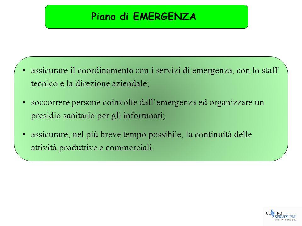 assicurare il coordinamento con i servizi di emergenza, con lo staff tecnico e la direzione aziendale; soccorrere persone coinvolte dallemergenza ed o