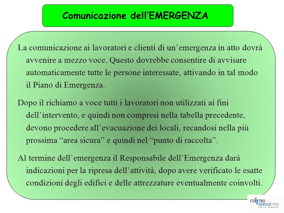 54 La comunicazione ai lavoratori e clienti di unemergenza in atto dovrà avvenire a mezzo voce. Questo dovrebbe consentire di avvisare automaticamente