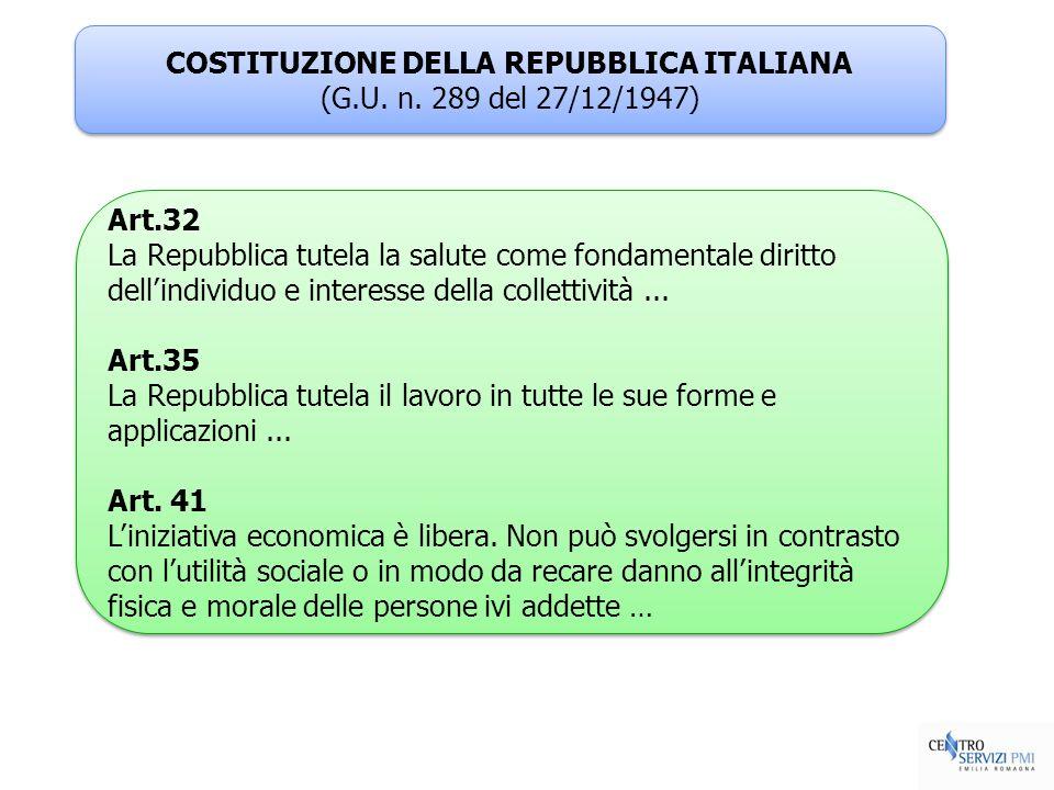 COSTITUZIONE DELLA REPUBBLICA ITALIANA (G.U. n. 289 del 27/12/1947) COSTITUZIONE DELLA REPUBBLICA ITALIANA (G.U. n. 289 del 27/12/1947) Art.32 La Repu