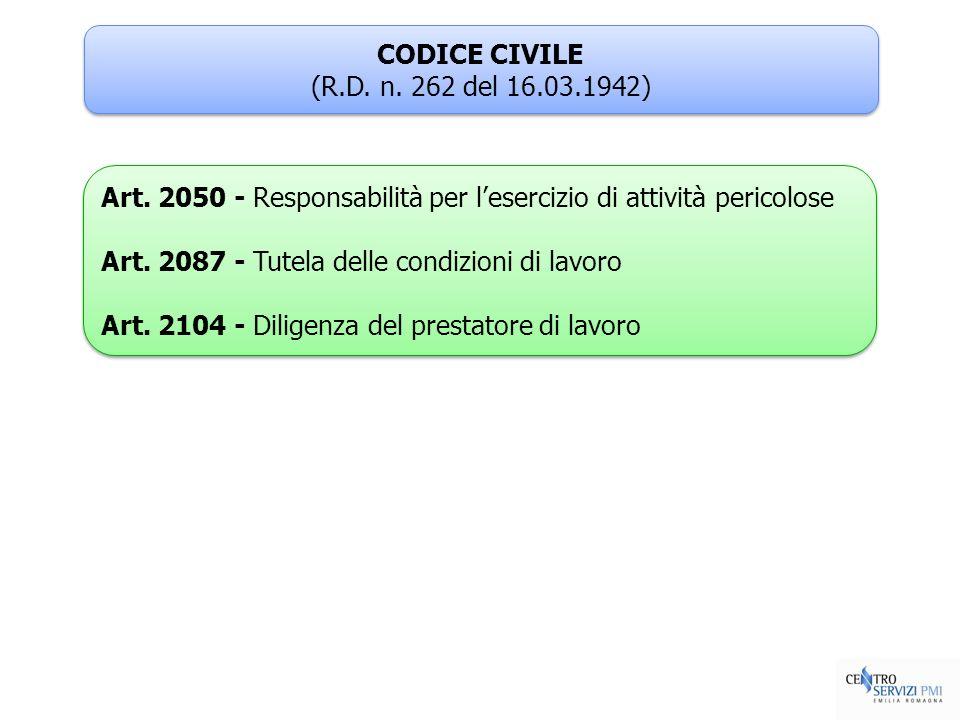 CODICE CIVILE (R.D. n. 262 del 16.03.1942) CODICE CIVILE (R.D. n. 262 del 16.03.1942) Art. 2050 - Responsabilità per lesercizio di attività pericolose