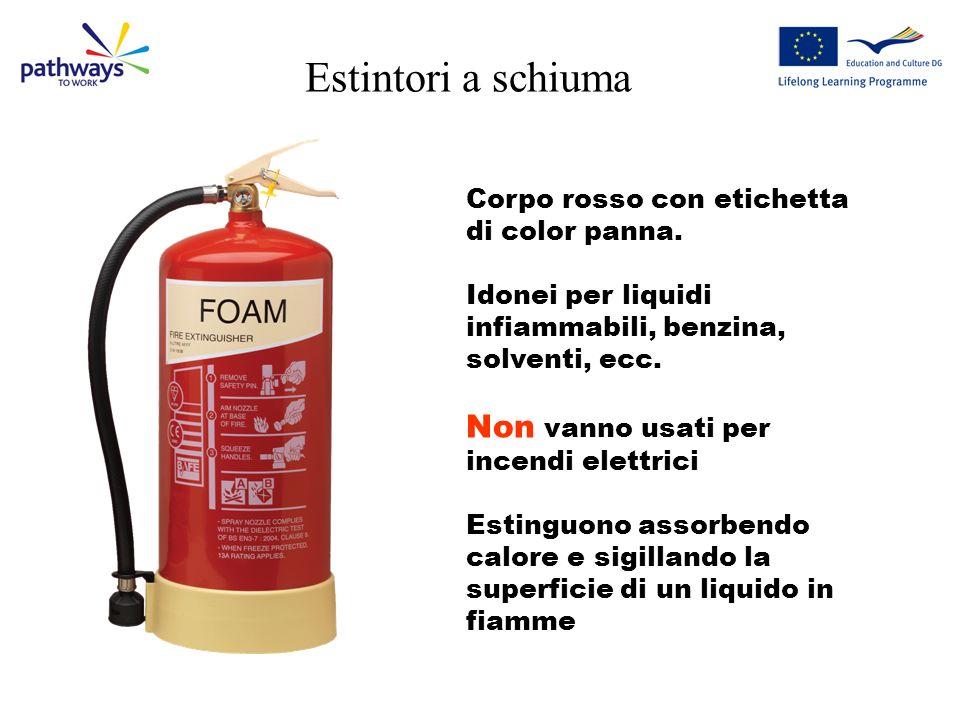 Estintori ad acqua Corpo rosso Idonei per incendi di legno, mobili e documenti, ecc. Non vanno usati per liquidi combustibili, olio, benzina, ecc. Non