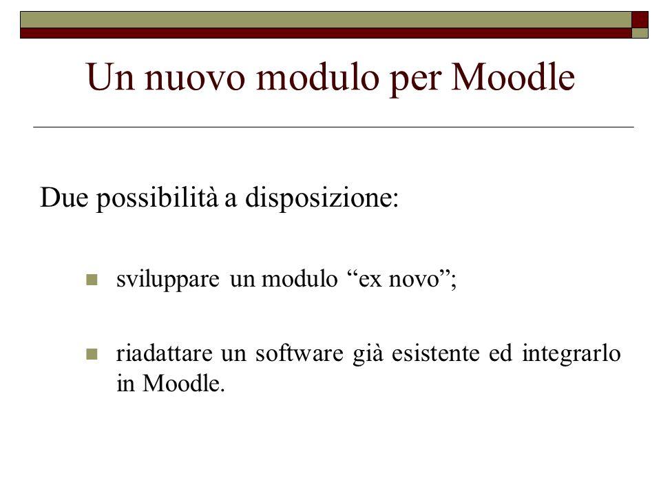 Un nuovo modulo per Moodle Due possibilità a disposizione: sviluppare un modulo ex novo; riadattare un software già esistente ed integrarlo in Moodle.