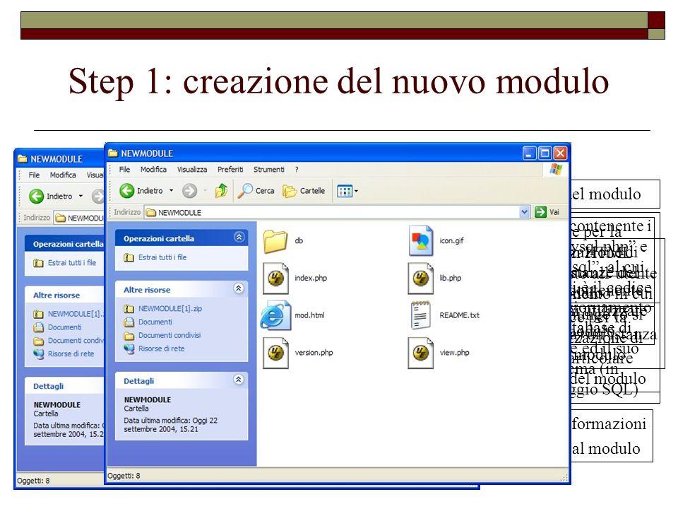 Step 1: creazione del nuovo modulo Form HTML sottoposto allutente nel momento in cui si aggiunge (o si aggiorna) unistanza del modulo Meta-informazion