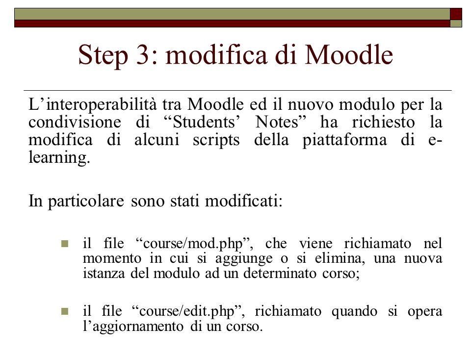 Step 3: modifica di Moodle Linteroperabilità tra Moodle ed il nuovo modulo per la condivisione di Students Notes ha richiesto la modifica di alcuni sc