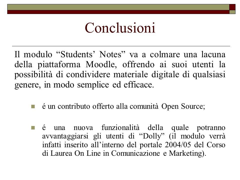 Conclusioni Il modulo Students Notes va a colmare una lacuna della piattaforma Moodle, offrendo ai suoi utenti la possibilità di condividere materiale