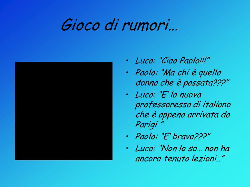 Gioco di rumori… Luca: Ciao Paolo!!! Paolo: Ma chi è quella donna che è passata??? Luca: E la nuova professoressa di italiano che è appena arrivata da