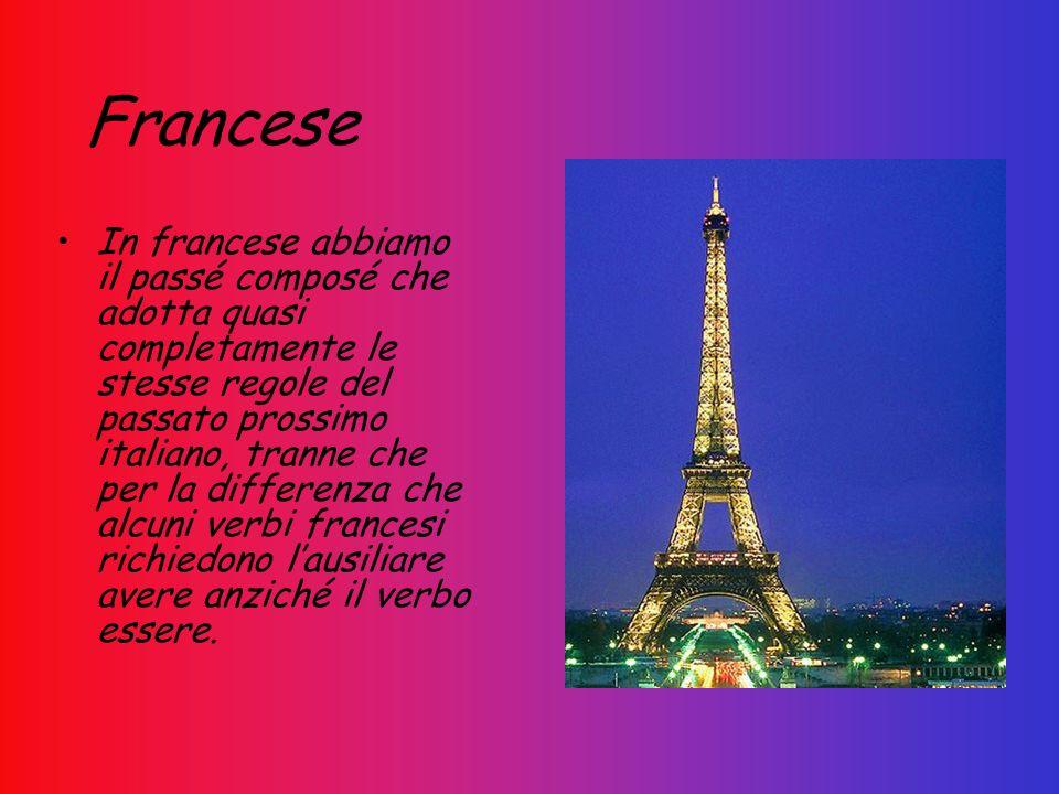 Francese In francese abbiamo il passé composé che adotta quasi completamente le stesse regole del passato prossimo italiano, tranne che per la differe