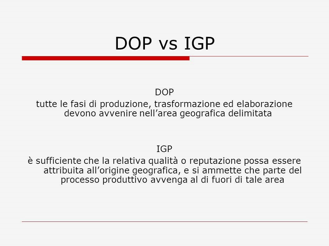DOP vs IGP DOP tutte le fasi di produzione, trasformazione ed elaborazione devono avvenire nellarea geografica delimitata IGP è sufficiente che la rel