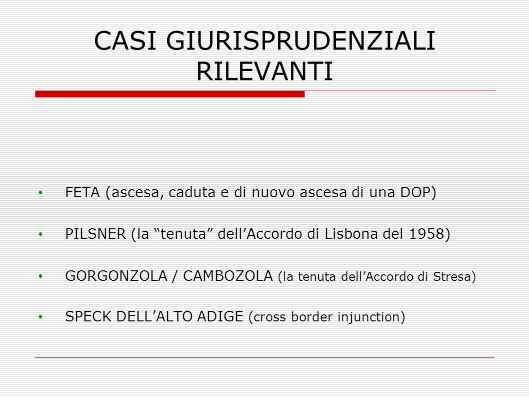 CASI GIURISPRUDENZIALI RILEVANTI FETA (ascesa, caduta e di nuovo ascesa di una DOP) PILSNER (la tenuta dellAccordo di Lisbona del 1958) GORGONZOLA / C