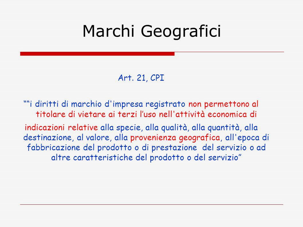 Marchi Geografici Art. 21, CPI i diritti di marchio d'impresa registrato non permettono al titolare di vietare ai terzi luso nell'attività economica d