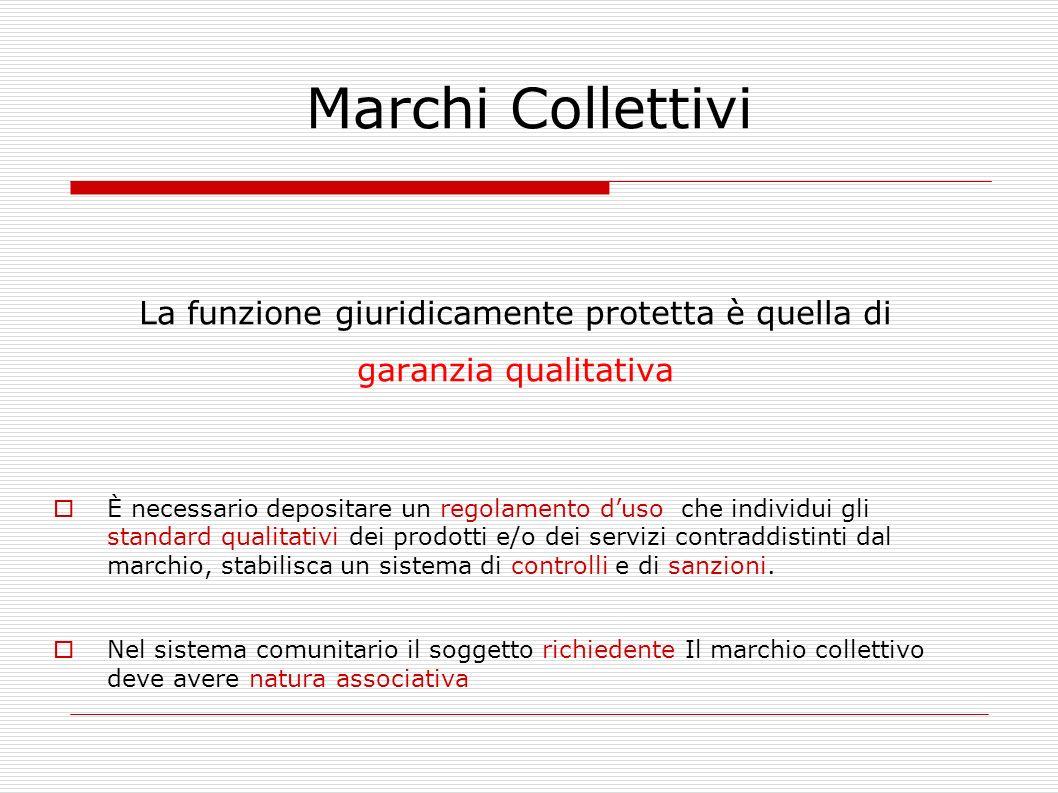 Marchi Collettivi La funzione giuridicamente protetta è quella di garanzia qualitativa È necessario depositare un regolamento duso che individui gli s