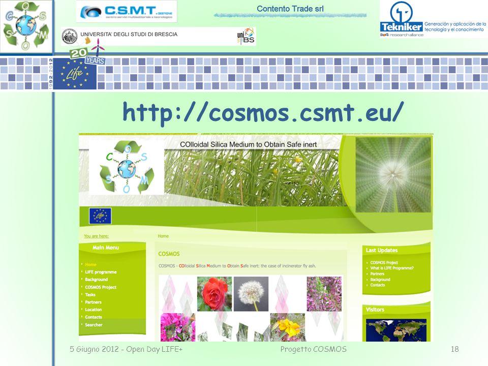 5 Giugno 2012 - Open Day LIFE+18Progetto COSMOS http://cosmos.csmt.eu/