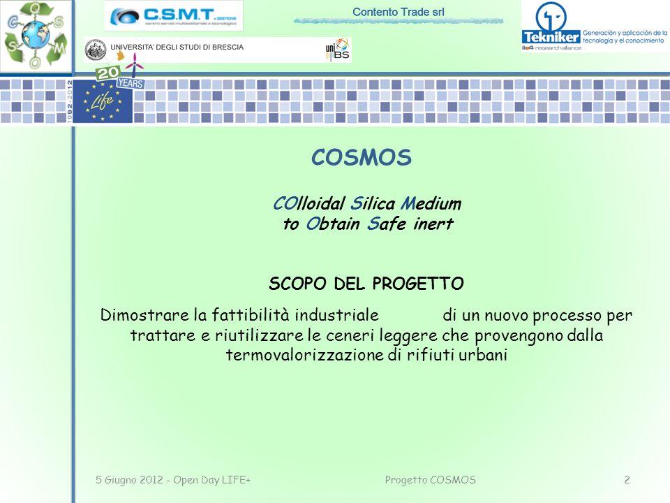 COlloidal Silica Medium to Obtain Safe inert SCOPO DEL PROGETTO Dimostrare la fattibilità industriale di un nuovo processo per trattare e riutilizzare