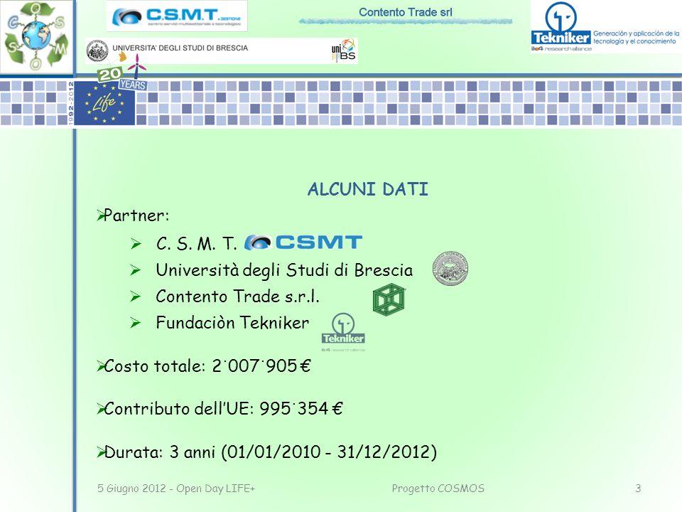ALCUNI DATI Partner: C. S. M. T. Università degli Studi di Brescia Contento Trade s.r.l. Fundaciòn Tekniker Costo totale: 2 ˙ 007 ˙ 905 Contributo del