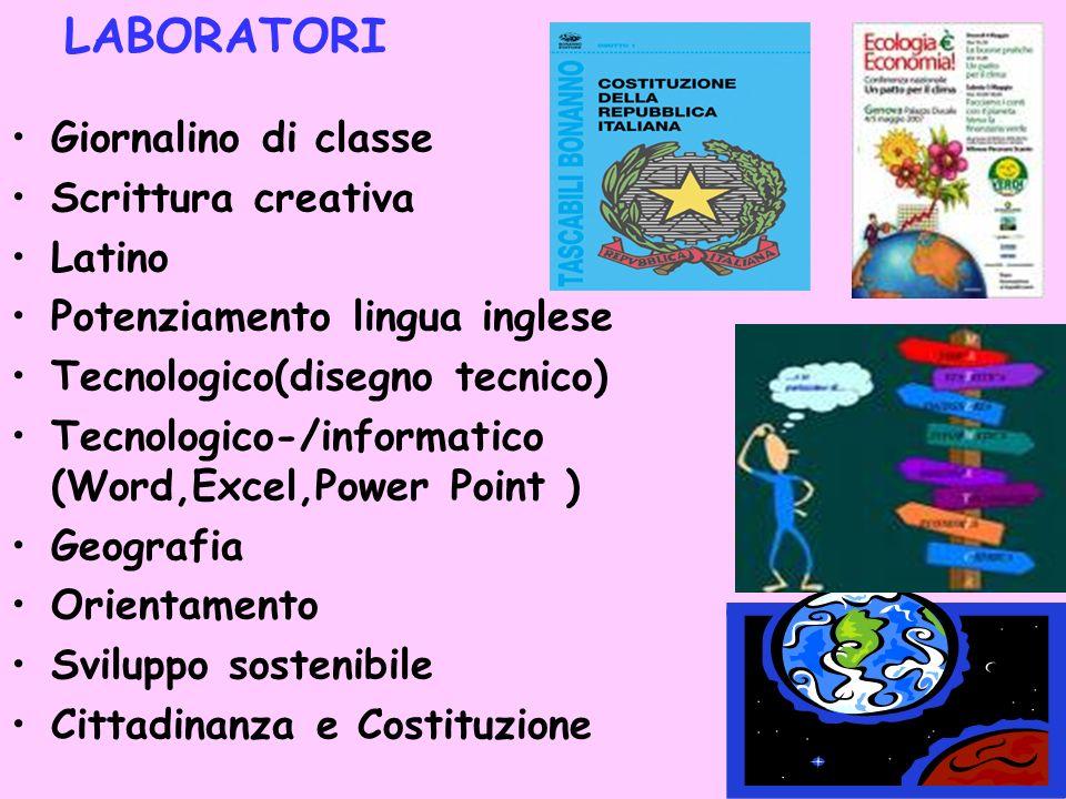 12 LABORATORI Giornalino di classe Scrittura creativa Latino Potenziamento lingua inglese Tecnologico(disegno tecnico) Tecnologico-/informatico (Word,