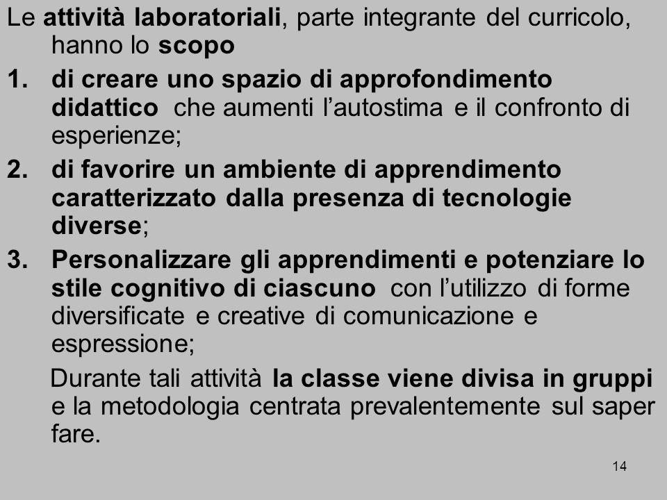 14 Le attività laboratoriali, parte integrante del curricolo, hanno lo scopo 1.di creare uno spazio di approfondimento didattico che aumenti lautostim