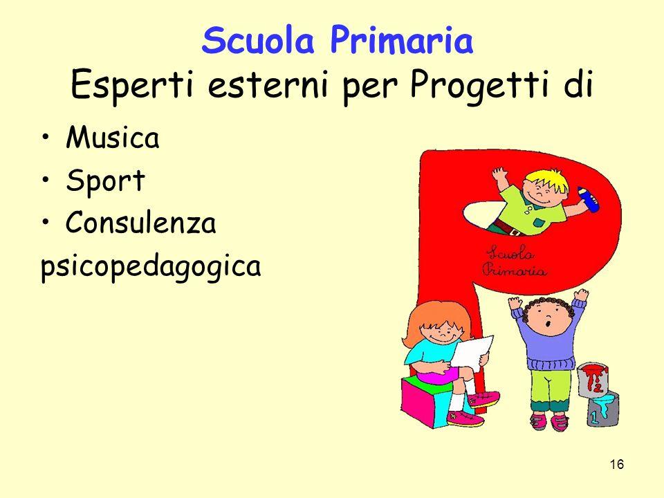 16 Scuola Primaria Esperti esterni per Progetti di Musica Sport Consulenza psicopedagogica