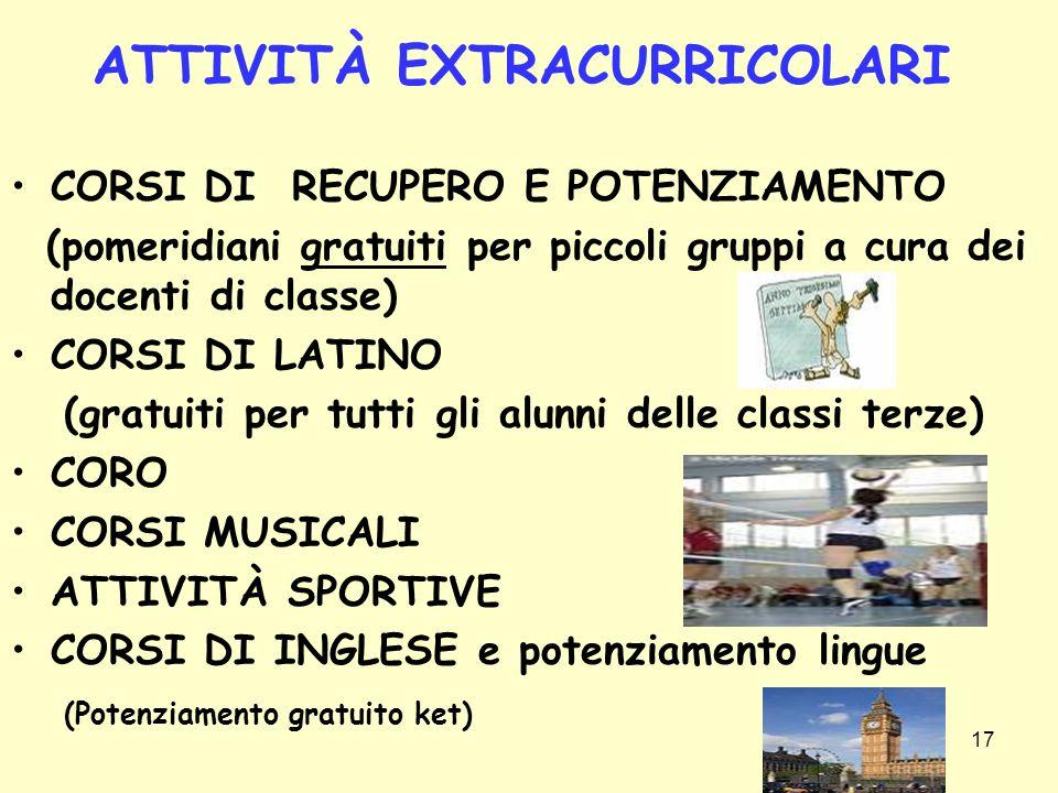17 ATTIVITÀ EXTRACURRICOLARI CORSI DI RECUPERO E POTENZIAMENTO (pomeridiani gratuiti per piccoli gruppi a cura dei docenti di classe) CORSI DI LATINO