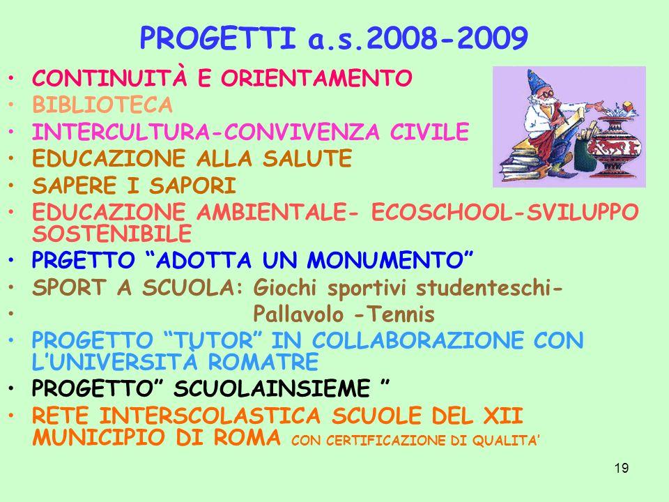 19 PROGETTI a.s.2008-2009 CONTINUITÀ E ORIENTAMENTO BIBLIOTECA INTERCULTURA-CONVIVENZA CIVILE EDUCAZIONE ALLA SALUTE SAPERE I SAPORI EDUCAZIONE AMBIEN
