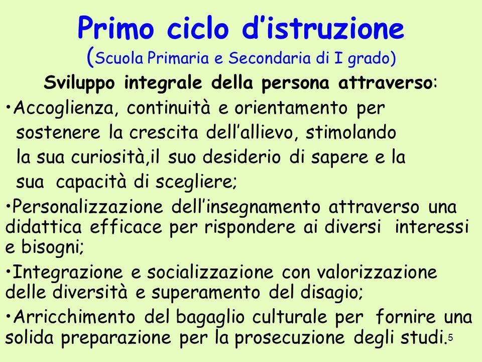 5 Primo ciclo distruzione ( Scuola Primaria e Secondaria di I grado) Sviluppo integrale della persona attraverso: Accoglienza, continuità e orientamen