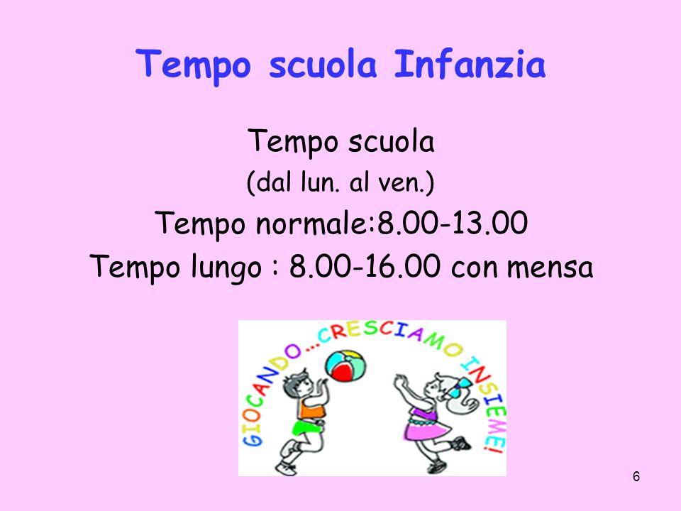 6 Tempo scuola Infanzia Tempo scuola (dal lun. al ven.) Tempo normale:8.00-13.00 Tempo lungo : 8.00-16.00 con mensa