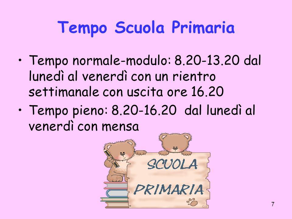 7 Tempo Scuola Primaria Tempo normale-modulo: 8.20-13.20 dal lunedì al venerdì con un rientro settimanale con uscita ore 16.20 Tempo pieno: 8.20-16.20
