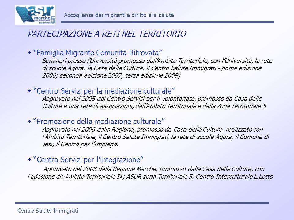 Accoglienza dei migranti e diritto alla salute CONDIZIONI DI FRUIBILITA E QUALITA DEI SERVIZI Conoscenza della normativa da parte di tutti i servizi Formazione e aggiornamento specifici per il personale Abitudine al lavoro di gruppo e alla multidisciplinarità Cogliere i bisogni e tradurli in strategie nuove (ad es.: flessibilità organizzativa, interventi di tipo multidimensionale, ecc.) Capacità di apertura allesterno e al territorio Inserimento del Servizio di mediazione culturale Centro Salute Immigrati