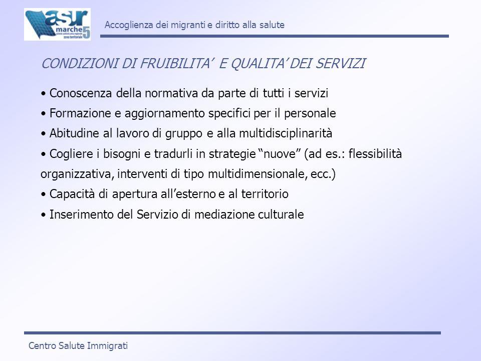 Accoglienza dei migranti e diritto alla salute CONDIZIONI DI FRUIBILITA E QUALITA DEI SERVIZI Conoscenza della normativa da parte di tutti i servizi F