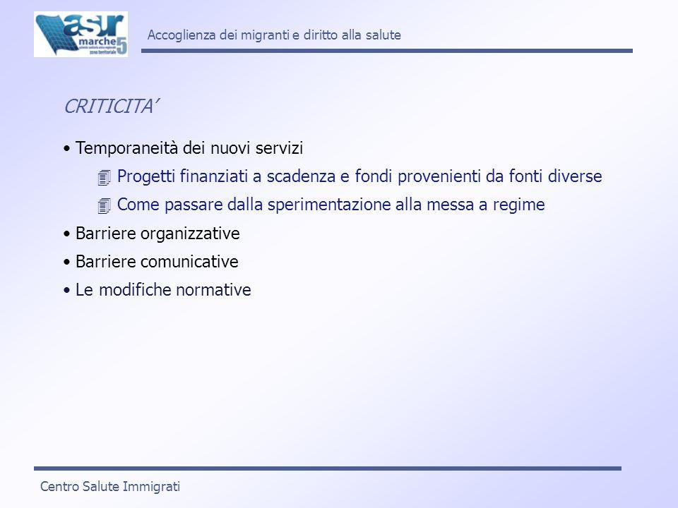 CRITICITA Temporaneità dei nuovi servizi Progetti finanziati a scadenza e fondi provenienti da fonti diverse Come passare dalla sperimentazione alla m