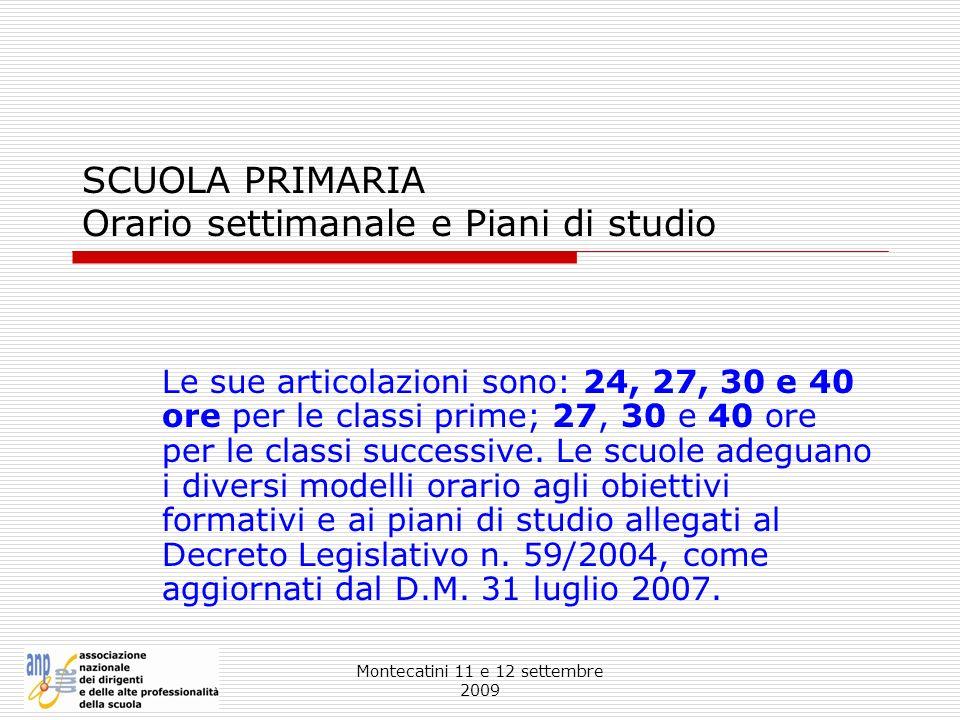 Montecatini 11 e 12 settembre 2009 SCUOLA PRIMARIA Orario settimanale e Piani di studio Le sue articolazioni sono: 24, 27, 30 e 40 ore per le classi p