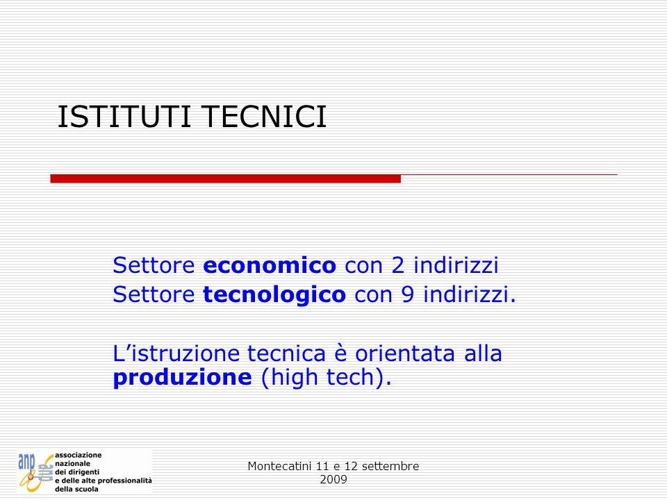 Montecatini 11 e 12 settembre 2009 ISTITUTI TECNICI Settore economico con 2 indirizzi Settore tecnologico con 9 indirizzi. Listruzione tecnica è orien