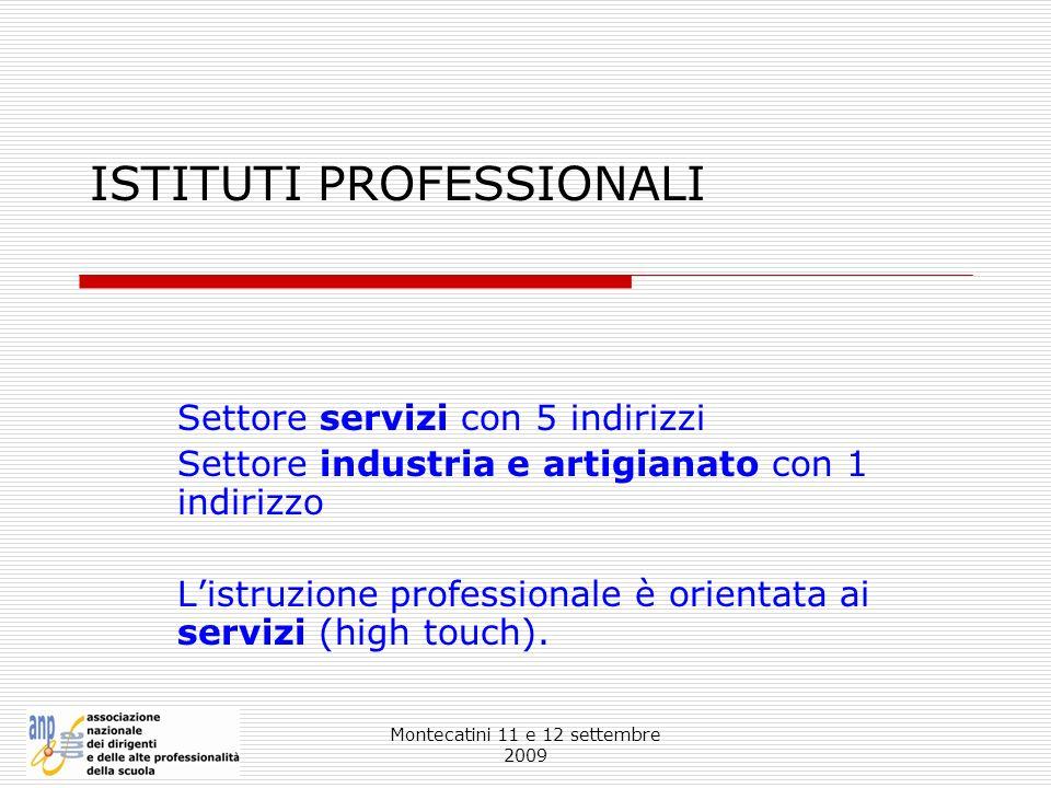 Montecatini 11 e 12 settembre 2009 ISTITUTI PROFESSIONALI Settore servizi con 5 indirizzi Settore industria e artigianato con 1 indirizzo Listruzione