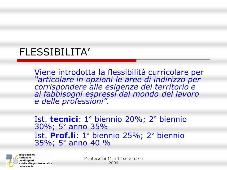 Montecatini 11 e 12 settembre 2009 FLESSIBILITA Viene introdotta la flessibilità curricolare per articolare in opzioni le aree di indirizzo per corris