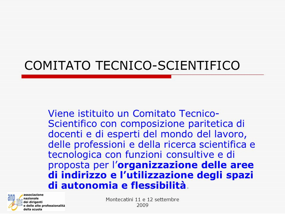 Montecatini 11 e 12 settembre 2009 COMITATO TECNICO-SCIENTIFICO Viene istituito un Comitato Tecnico- Scientifico con composizione paritetica di docent