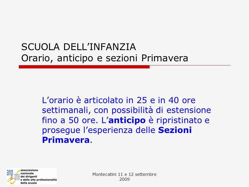 Montecatini 11 e 12 settembre 2009 SCUOLA DELLINFANZIA Orario, anticipo e sezioni Primavera Lorario è articolato in 25 e in 40 ore settimanali, con po